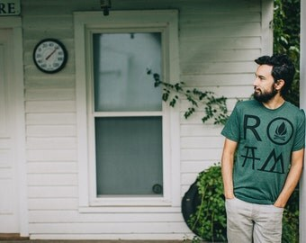 ROAM t shirt - tshirt men, mens graphic tee, camping print on forest green, wanderlust shirt for him, gift for travelers, the great outdoors