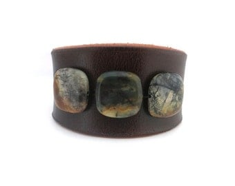 Brown Leather Wristband with Black/Earth Toned Jade Stone Beads, Handmade Leather Jewelry, Women's Leather Accessories, Rawhide