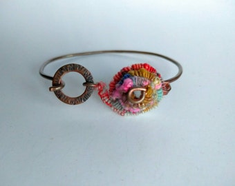 Handspun Wirecore and Recycled Copper Wire cuff in COIL Series handcrafted recycled copper wire and fabricated  copper and wool focal