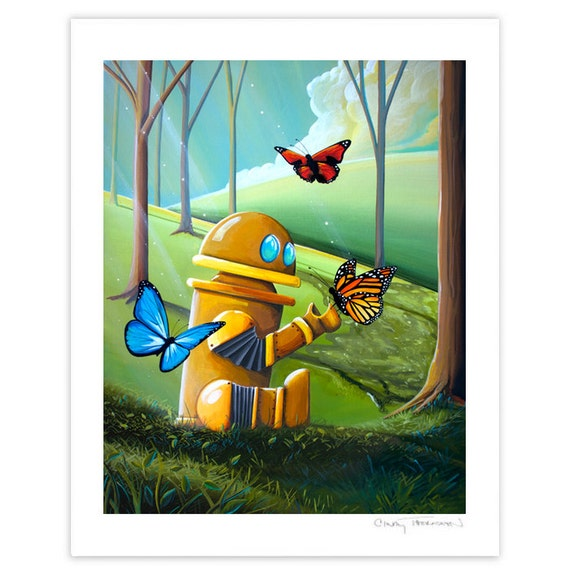 Robot Series Limited Edition - Bot and the Butterflies - Signed 8x10 Semi Gloss Print (3/10)