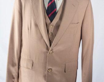 Men's Suit / Khaki Vintage Blazer, Vest, Trousers / Three Piece Wool Suit