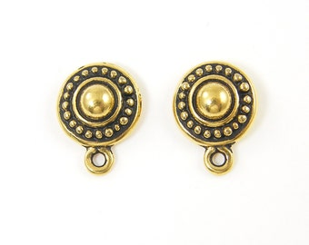Antique Gold Round Tierracast Earring Post with Loop Stud Finding  AN1-11 2