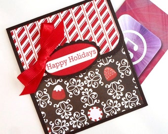 Holiday Gift Card Holder - Happy Holidays Money Holder Card - Christmas Money Envelope