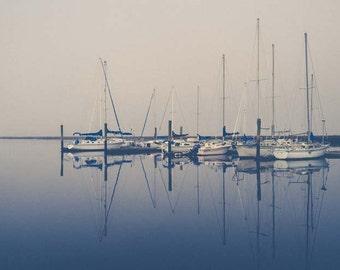 Minimalist nautical photograph . coastal art . large wall decor . blue . sail boat photograph . marina . water photograph . blue gray decor