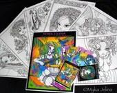SALE Myka Jelina Fantasy Art Coloring Pages & Trading Card Set 4 Rainbow Trippy Hippie Fairy Art