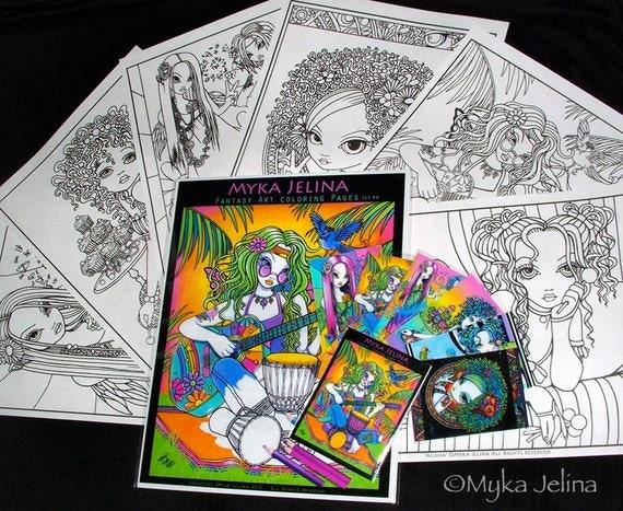 Set 4 6 pages myka jelina fantasy art coloring pages for Myka jelina coloring pages