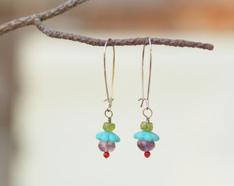 Earrings READY TO SHIP Boho Jewelry Colorful Earrings Dangle Earring Drop Earring Semiprecious Stones Best Friend Gift Mother's Day Gift