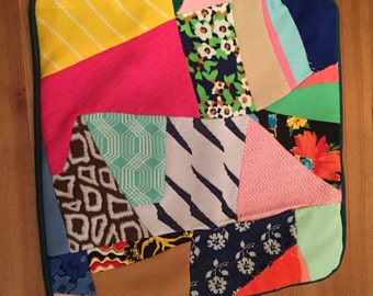 Patchwork Pillow Cover  Vintage 1970s Polyester Crazy quilt 13 x 13