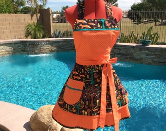 Fox Trot Sassy Apron with Petticoat, Womens Aprons, Retro, Full, Sweetheart, Kitchen, Southern Belle, Michael Miller