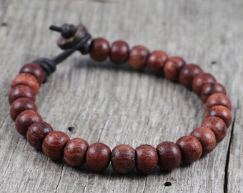 Mala Bracelet, Mens - Leather and Wood Beaded, Red, Surfer, Prayer Style, Surf, Natural, Wooden, Yoga, Man, Masculine, Boho, Hippie, Rugged