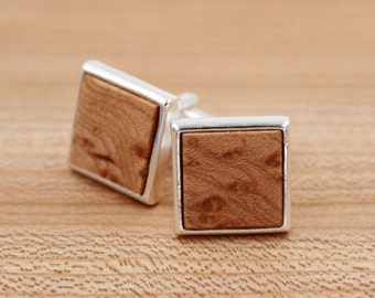 Figured Maple Square Wood Cufflinks - Silver Cufflinks - Groomsmen gift - 5th Wedding Anniversary Present