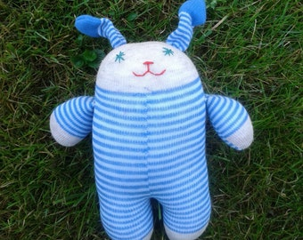 Sock Bunny - Grey and blue stripes