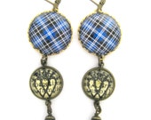 Scottish Tartan Jewelry - Ancient Romance - Clark Tartan Earrings with Luckenbooth and Mystic Black Swarovski Crystal Pearl Charms