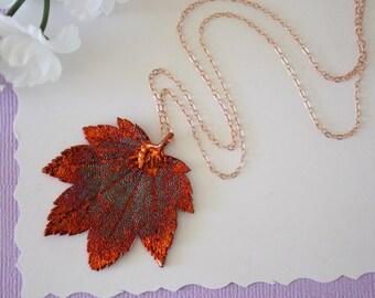 Copper Maple Leaf Necklace, Full Moon Maple, Real Copper Leaf, Real Full Moon Maple Leaf Necklace, Maple Leaf, Rose Gold Filled, LC114