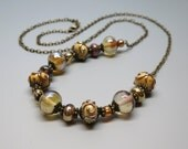 Lampwork Bead Necklace, Reflective Amber and Ivory/Golden Swirl Beaded Jewelry