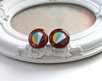 Colorful geometric pattern wooden earrings studs  preppy