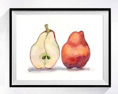 Pear Fine Art PRINT / Watercolor painting / Red artwork / Interior kitchen wall decor / Fruit theme / Red painting still life wall art