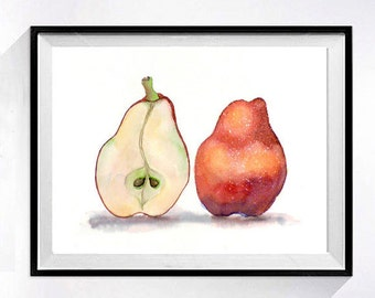 Pear Fine Art Print Watercolor painting Pears red painting Interior kitchen wall decor Fruit theme  Redart print still life wall art