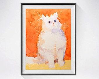 33. Persian cat artwork - Watercolor PRINT / Persian kitten / Kitty cat painting animal illustration / Cat watercolour / art print