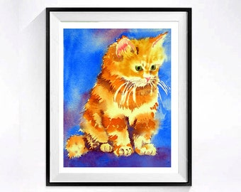 Persian Cat Print Watercolor Painting / Kitty animal artwork pet painting / Kitten drawing Animals wall decor / Colorfield blue yellow