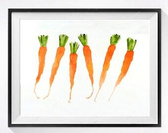 Fresh Carrot Art - Watercolor PRINT - Still life Vegetable garden art Home decor Kitchen wall decor Fruit artwork orange / K
