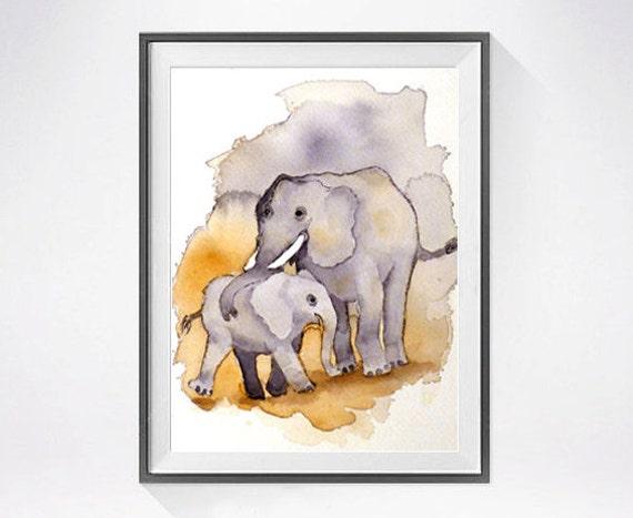 Nursery Art Print Baby Elephant Watercolor painting elephant family art print Animal painting for children Animal artwork Child's wall art
