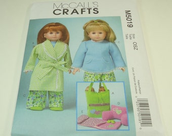 """McCall's 18"""" Doll Clothes And Accessories Pattern M5019 One Size"""