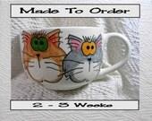 Goofy Cat Duo Jumbo Soup or Latte Mug Handmade Earthenware Ceramic by GMS