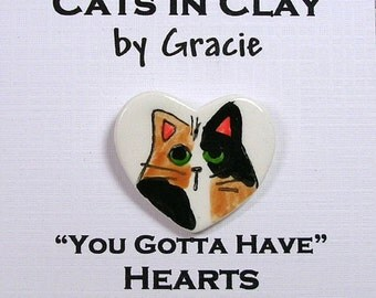 Calico Cat Heart Shaped Pin In Clay