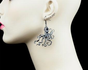 An Octopus Love Affair Earrings - Ink Splatter Octopus Earrings - Laser Cut Acrylic (C.A.B. Fayre Original Design)
