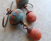 Rustic Southwest Relics ... Textured Lampwork and Copper Dangle Boho, Rustic, Beachy, Southwest Earrings