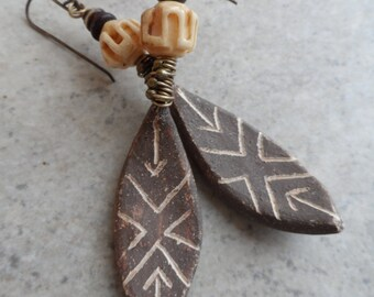 Protected ... OOAK Natural Ceramic and Brass Wire-Wrapped Tribal, African, Native, Rustic, Boho, Earthy, Primitive Earrings
