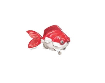 Red Toy Fish Print - Watercolor print - Toy fish print - Giclee