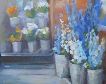Still Life Oil Painting// Blue Delphinium  16 x 16 x 1.5 Gallery Wrap Canvas