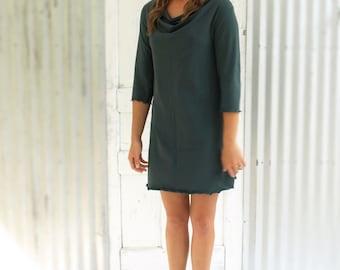Bamboo & Organic Cotton Drape Neck Tunic Dress