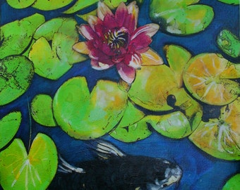 Summertime, Koi, 16x20 inches, mixed media photograph Original, #Lotus art #ponds #Koi art #Koi ponds #Fish ponds #Koi #Water Lily