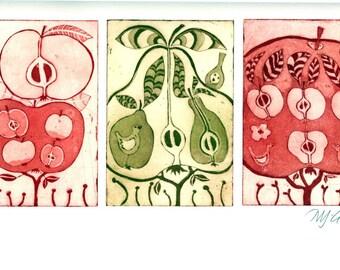 apple art print, pear art print, fruit wall art, fruit tree art, red and green print, red apples art, etching printmaking, tree art print