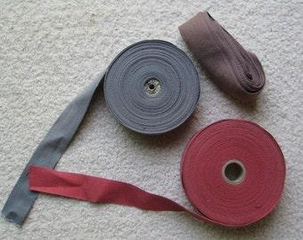 """1.25"""" Twill Tape Carpet Binding - Red, Grey, Brown"""
