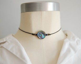 chocker necklace / abalone shell /seed bead / minimalist / grunge / mermaid / mermaid chocker / last one