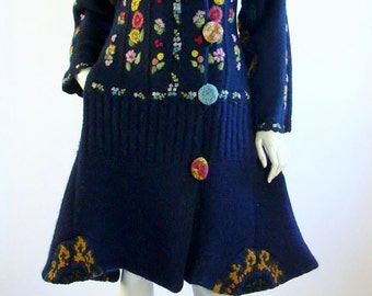 Upcycled Sweater Coat/ Size Small 8-10/Navy Blue / Floral Embriodery/Boho/by Brenda Abdullah