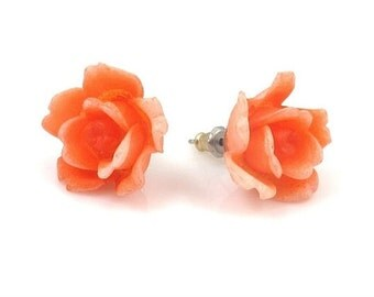 Rose Earrings, Rose Post Earrings, Orange Rose Earrings, Vintage Rose Earrings