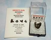 Sikhote Alin Meteorite LOVE Heart Shape Meteorite In Mineral Specimen Display Box Fell 1947 Russia With Meteorite Writing Card