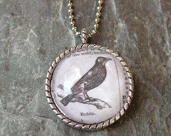 Robin - vintage dictionary illustration pendant necklace