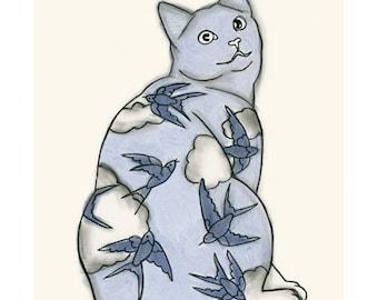 """Cat Art print -  Sky Kitten - 4"""" X 6"""" - 4 for 3 SALE"""
