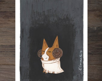 Corgi Princess Leia Art Print