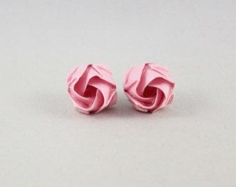 Origami Flower Stud Earrings,Paper Anniversary Gift,Pink Flower Earring,Origami Jewelry,Rose Earring,Tiny Flower Studs,Pink Earrings