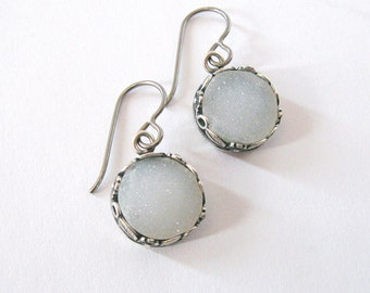 Natural White Druzy Earrings, Antique Silver Flower & Leaf Setting Niobium or Sterling Hooks, Drusy Crystal