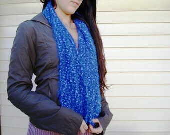 Soft and Cozy Scarf hand knit in Shades of Blue - Can be Converted to Infinity Scarf - Warm Blue Scarf