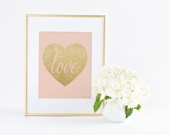 Gold Heart Print, Gold Heart Art Print Home Decor, Love Poster Digital Printable Pink Gold Heart, Nursery Decor Wall Art, Office Decor Print