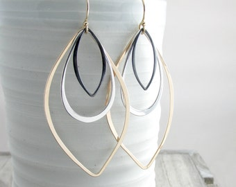Long Dangle Earrings Geometric Jewelry Gold and Silver Earrings Modern Earrings Bohemian Chic Earrings Gold Earrings Gift For Her